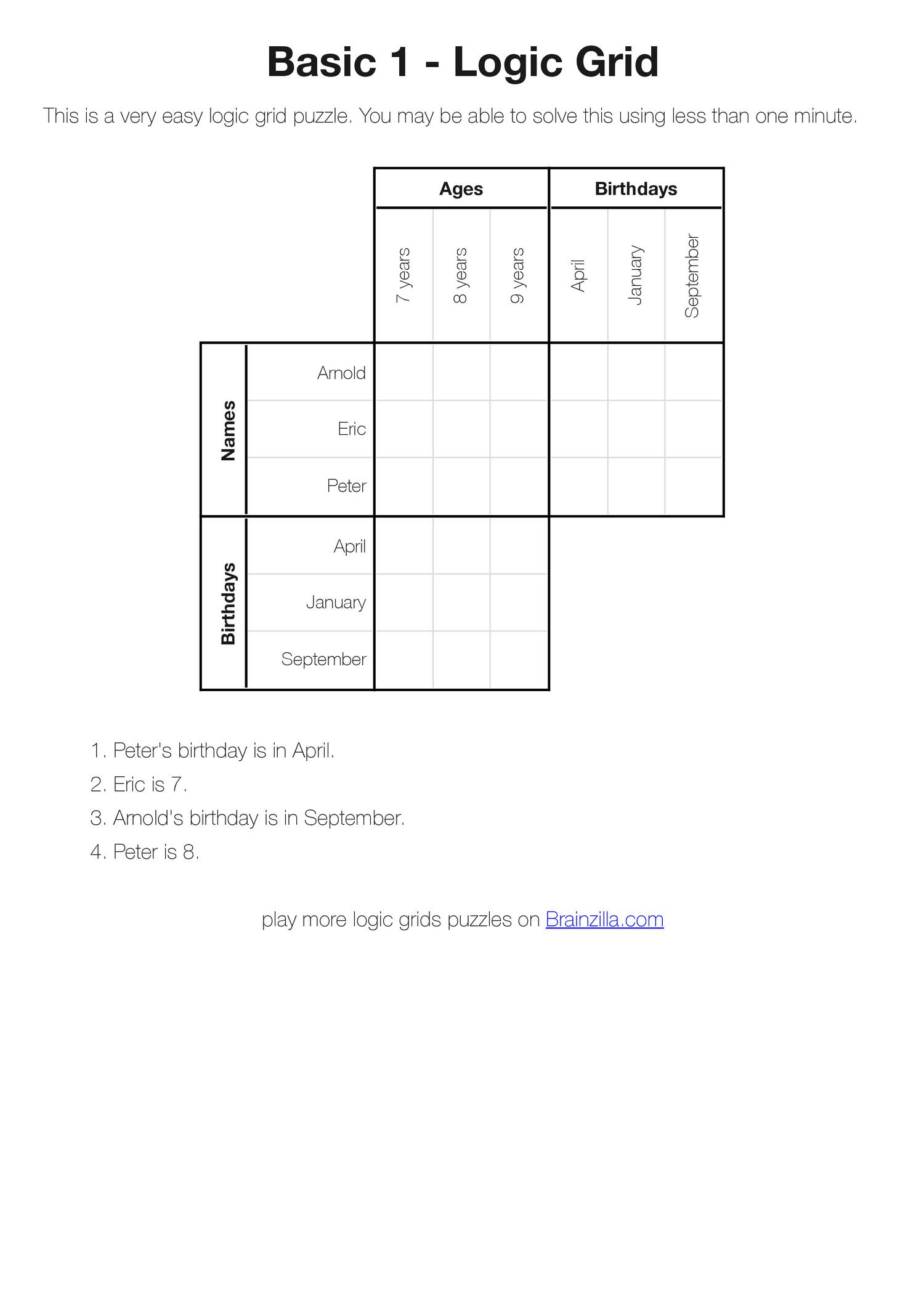 image about Printable Logic Puzzles for Adults named Printable Logic Grid Puzzles (Brainzilla).pdf DocDroid