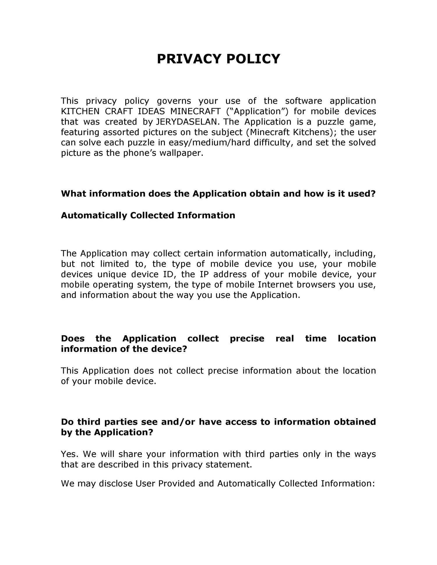 Kitchen Craft Ideas Minecraft Privacy Policy Pdf Docdroid