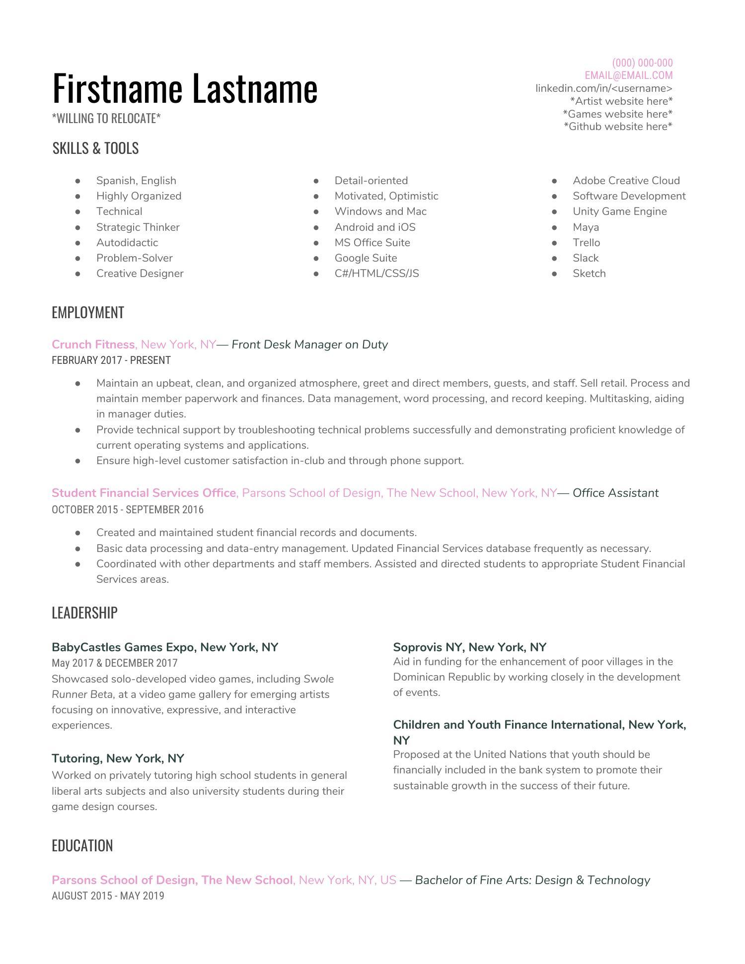 reddit resume template  1  pdf