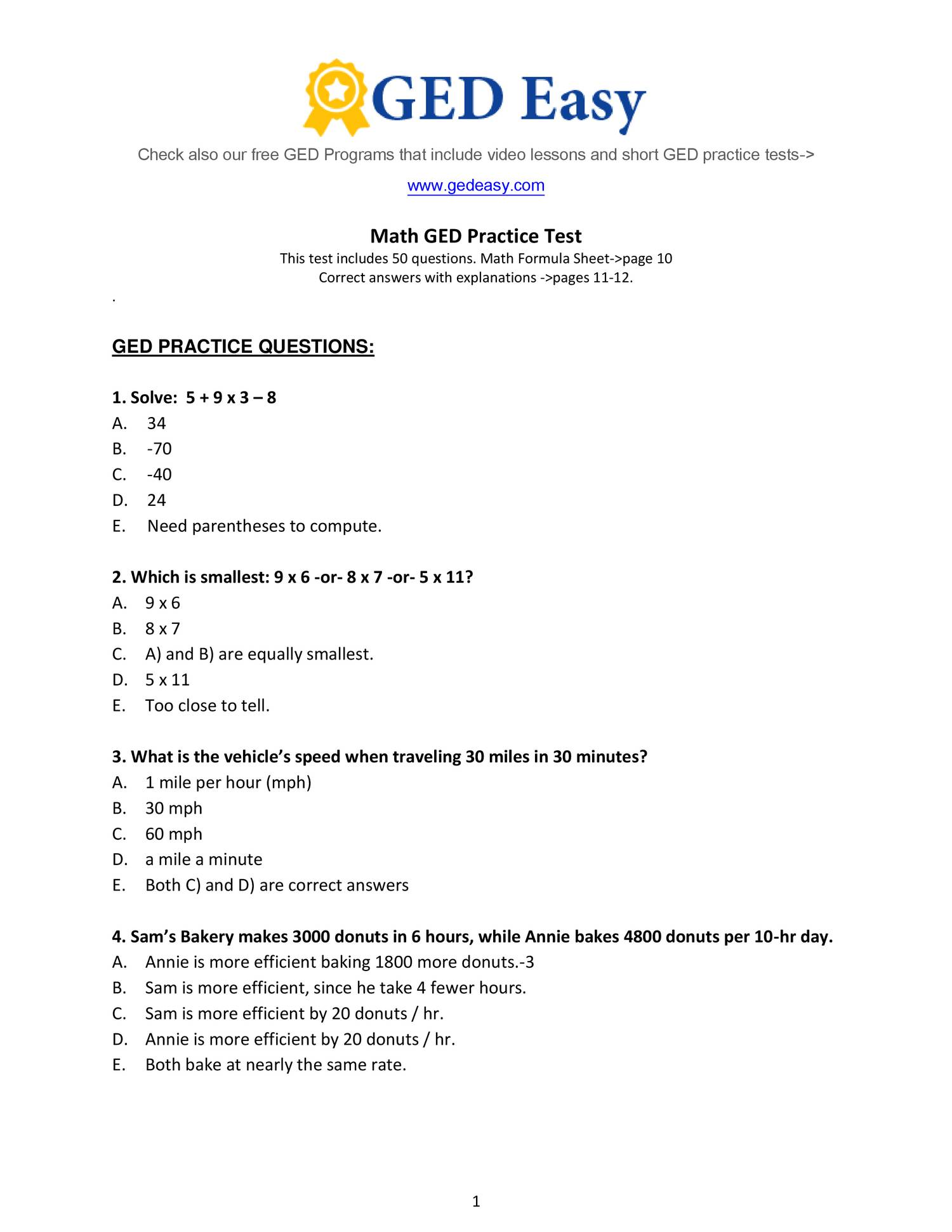 Comprehensive image with ged printable practice tests