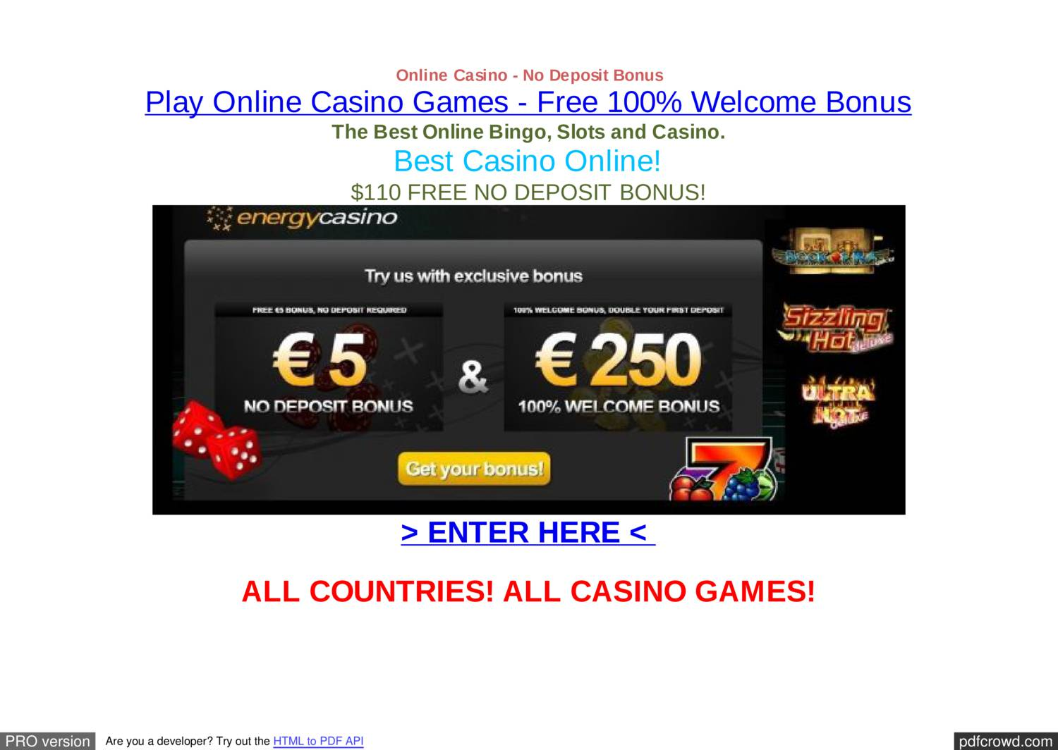 Bonus casino deposit new no online player gambeling casinos in