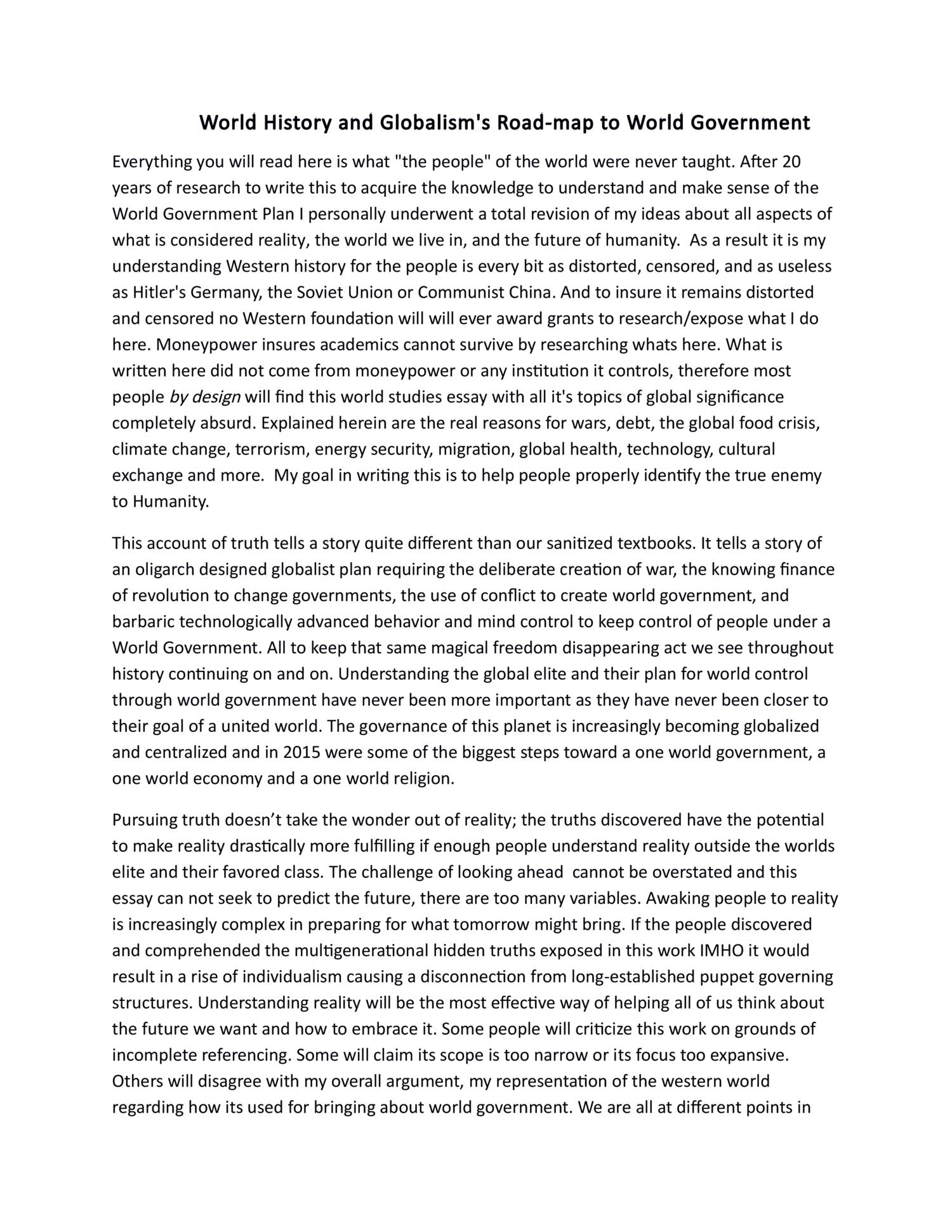 world of future essay Worldview essay - worldview essay  - worldview final paper worldview is how you view the world around you  that are oriented towards the future.