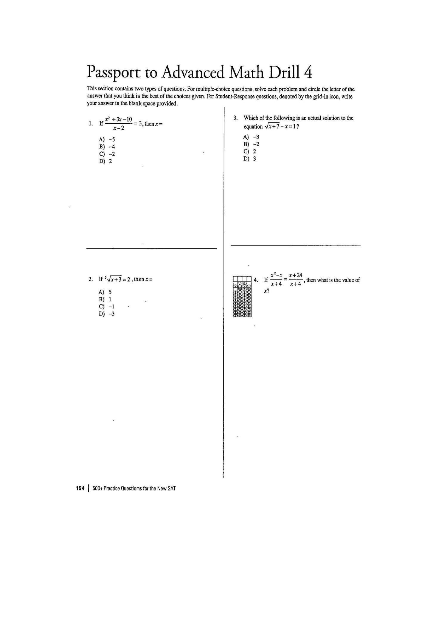 Sat Math Prep Worksheets Tecnologialinstante – Sat Math Prep Worksheets