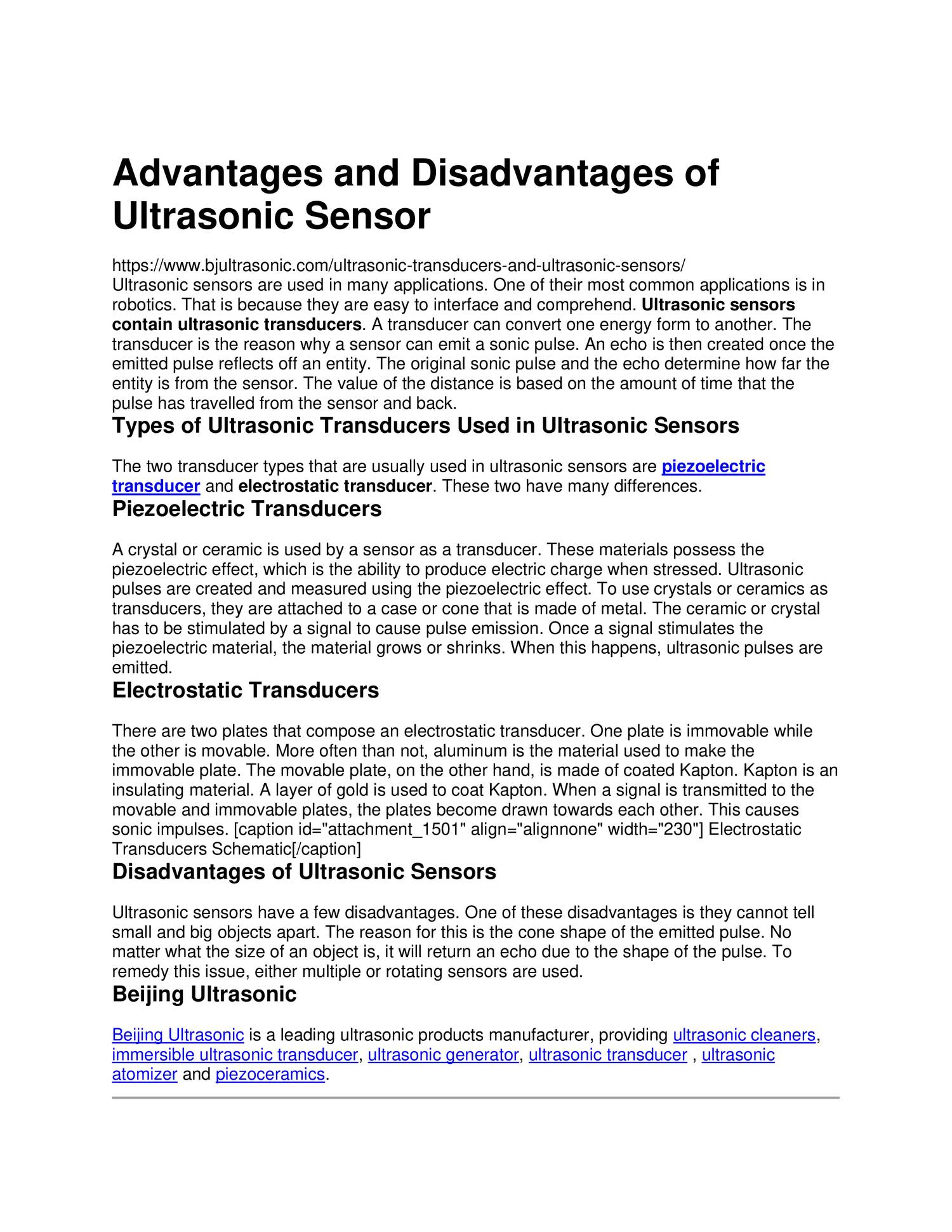 Advantages and Disadvantages of Ultrasonic Sensor pdf | DocDroid
