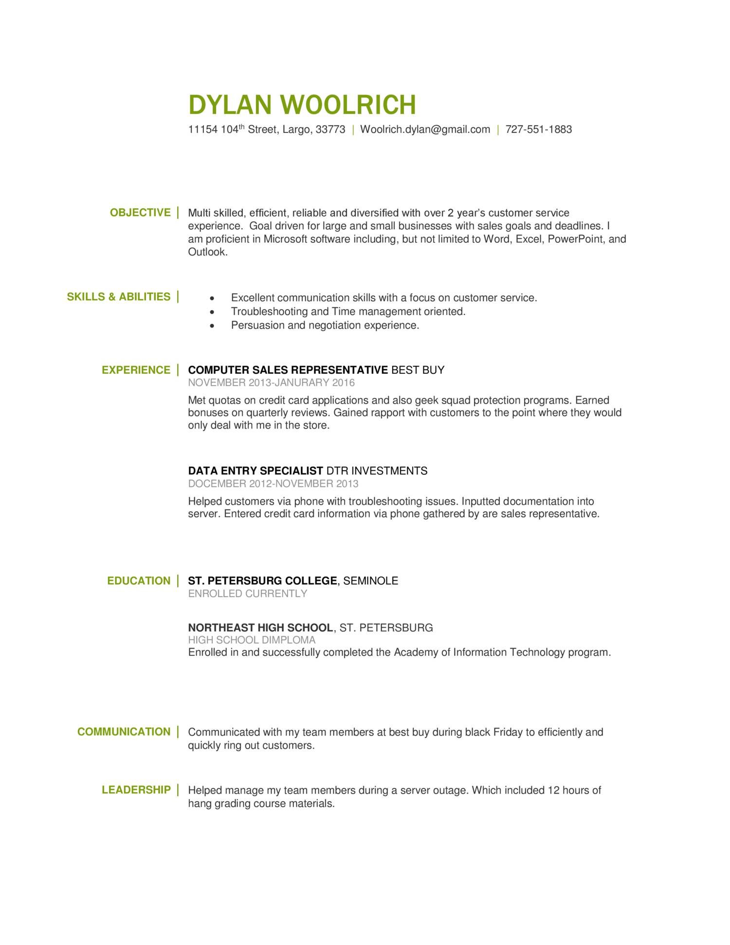 geek squad resume
