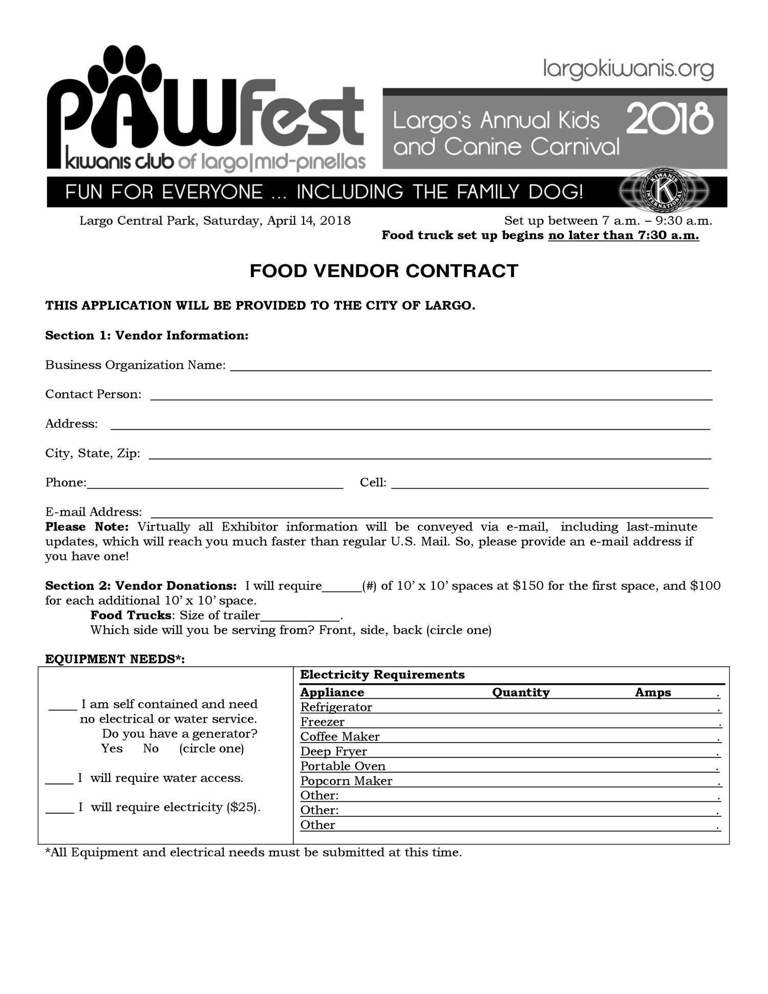 6 Pawfest Food Vendor Contract 2018 Pdf