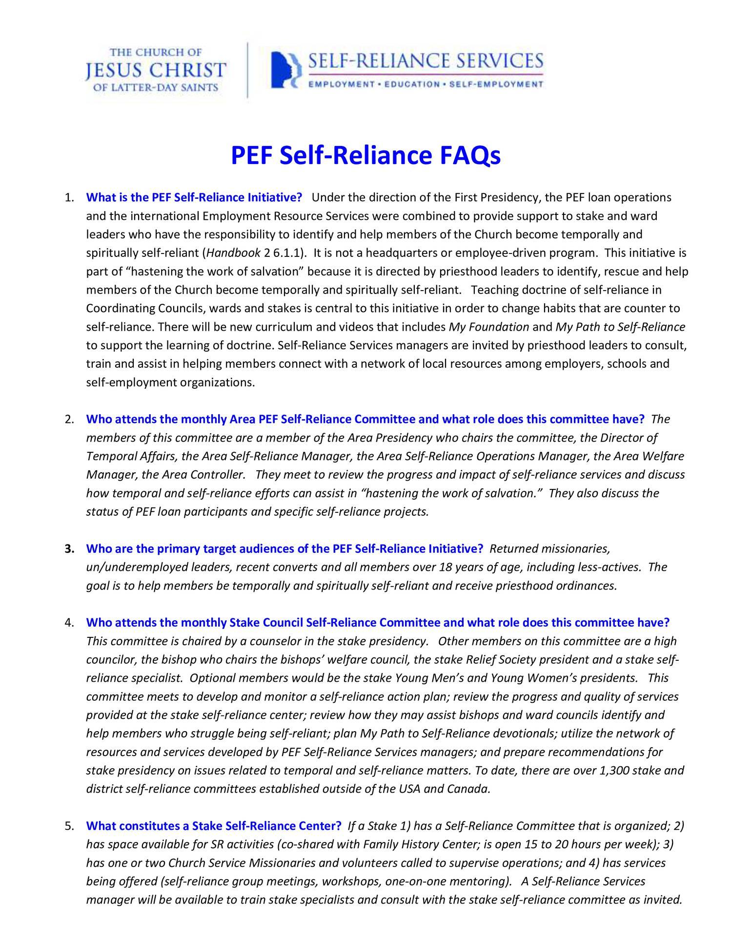 pef self reliance faqs pdf docdroid