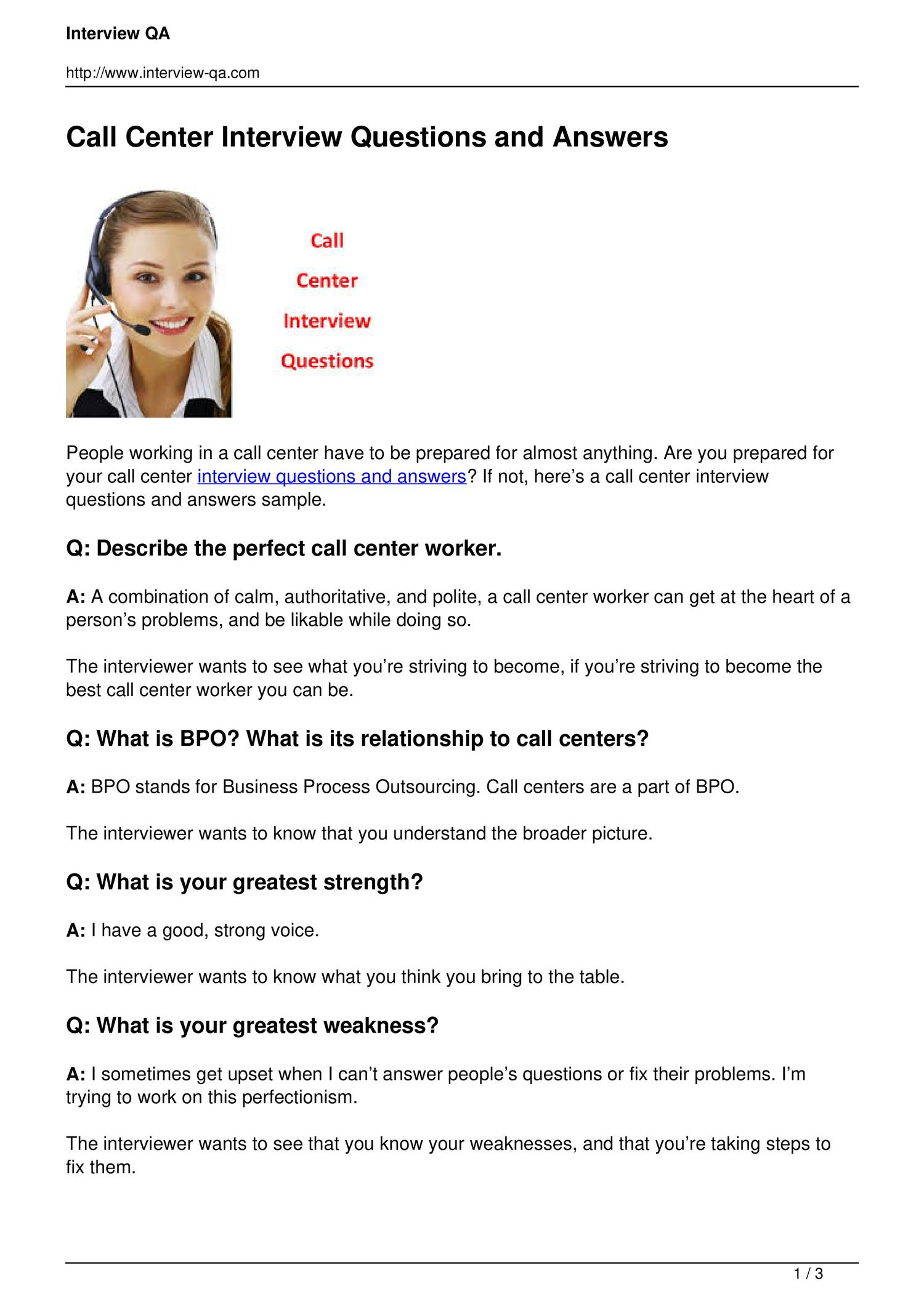 call center interview questions and answers pdf docdroid