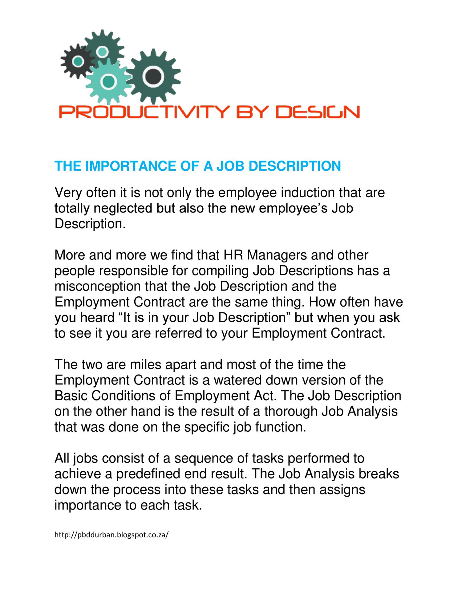 THE IMPORTANCE OF A JOB DESCRIPTIONdoc