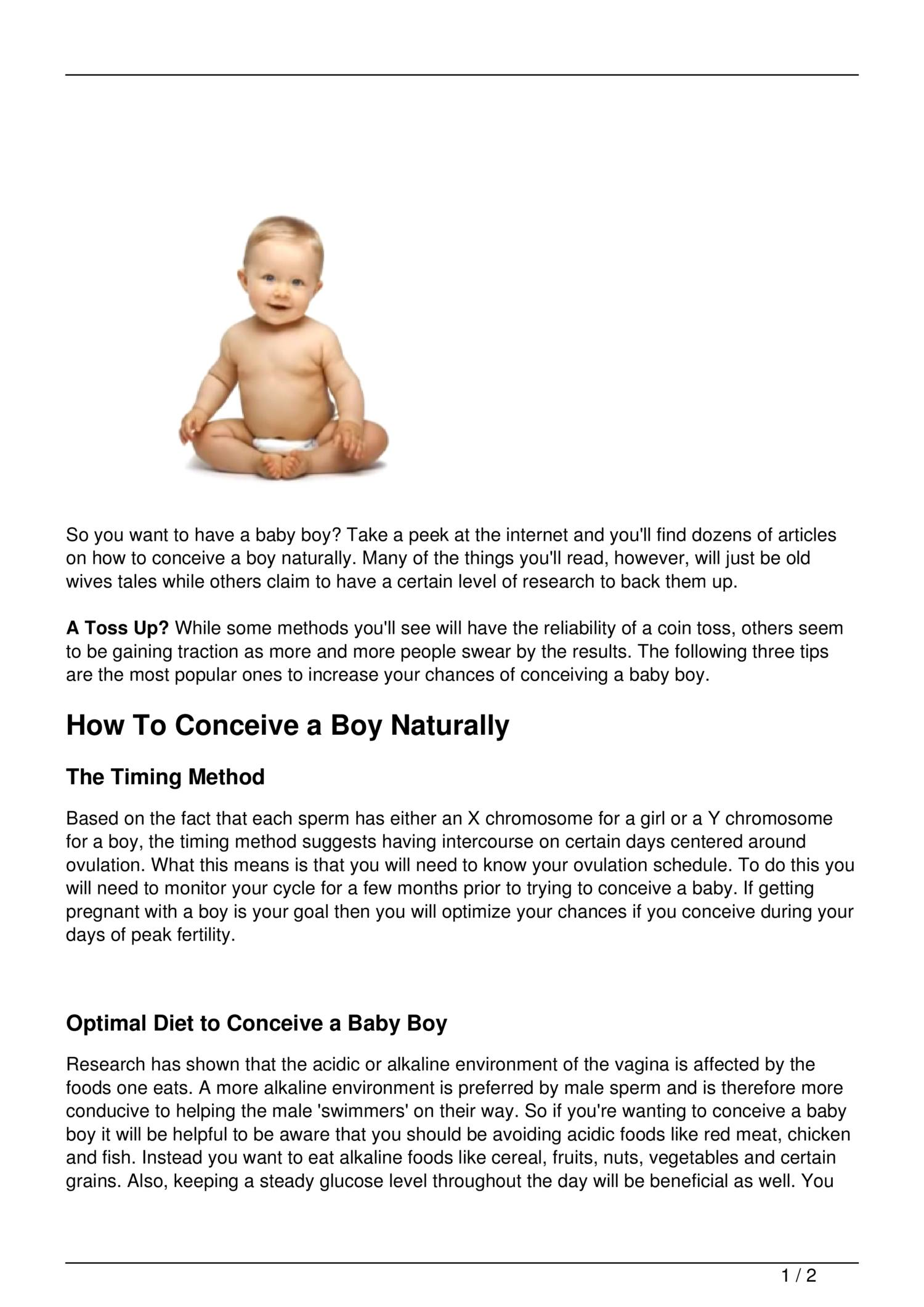 Best Way To Conceive A Boy Naturally