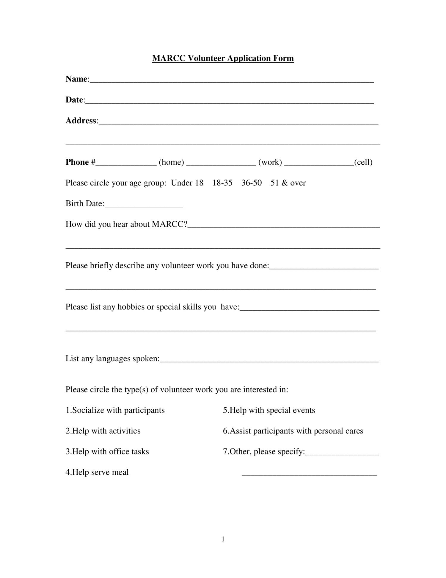 volunteer application form