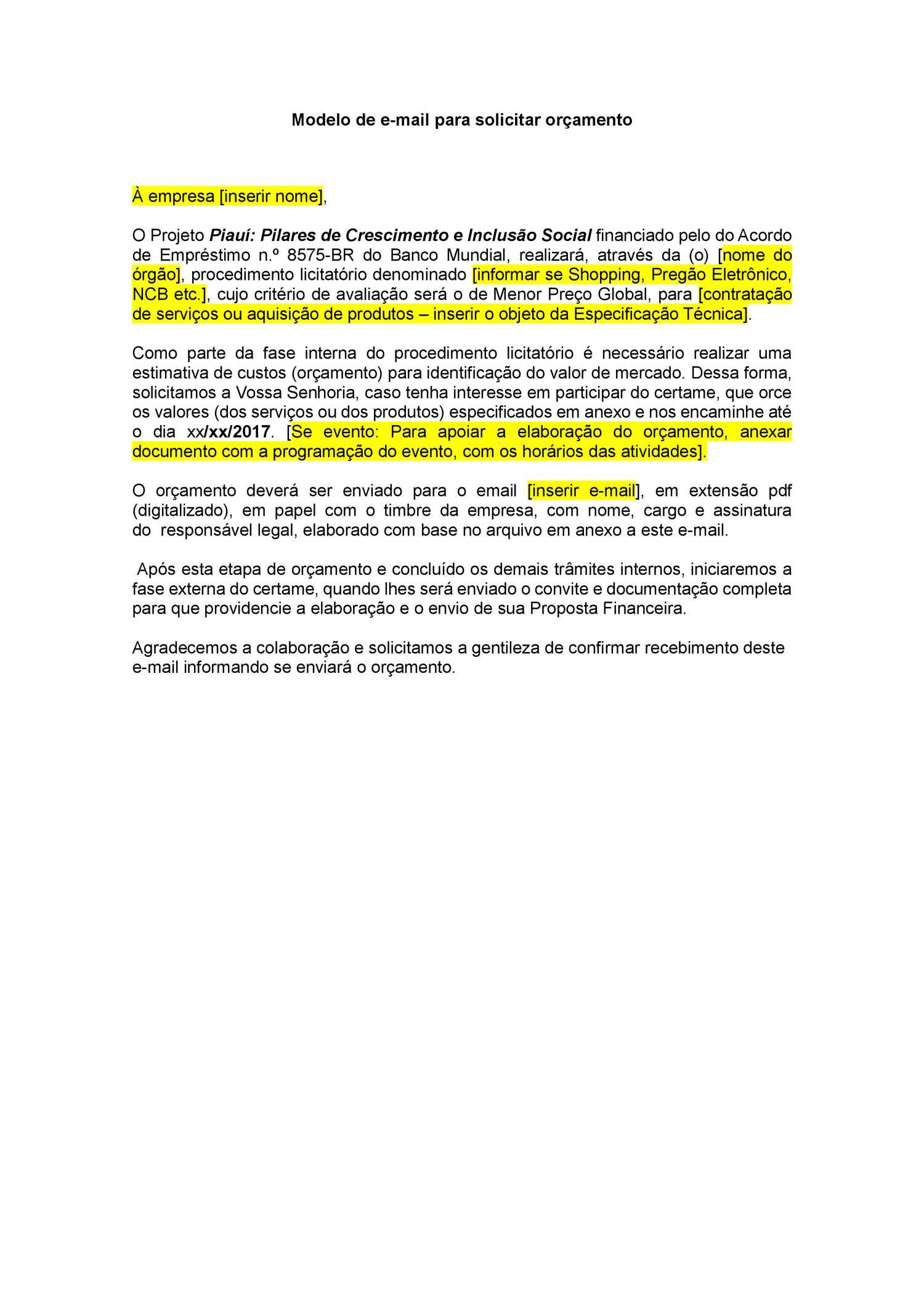 Modelo De Email Orcamento 17 04 17docx Docdroid