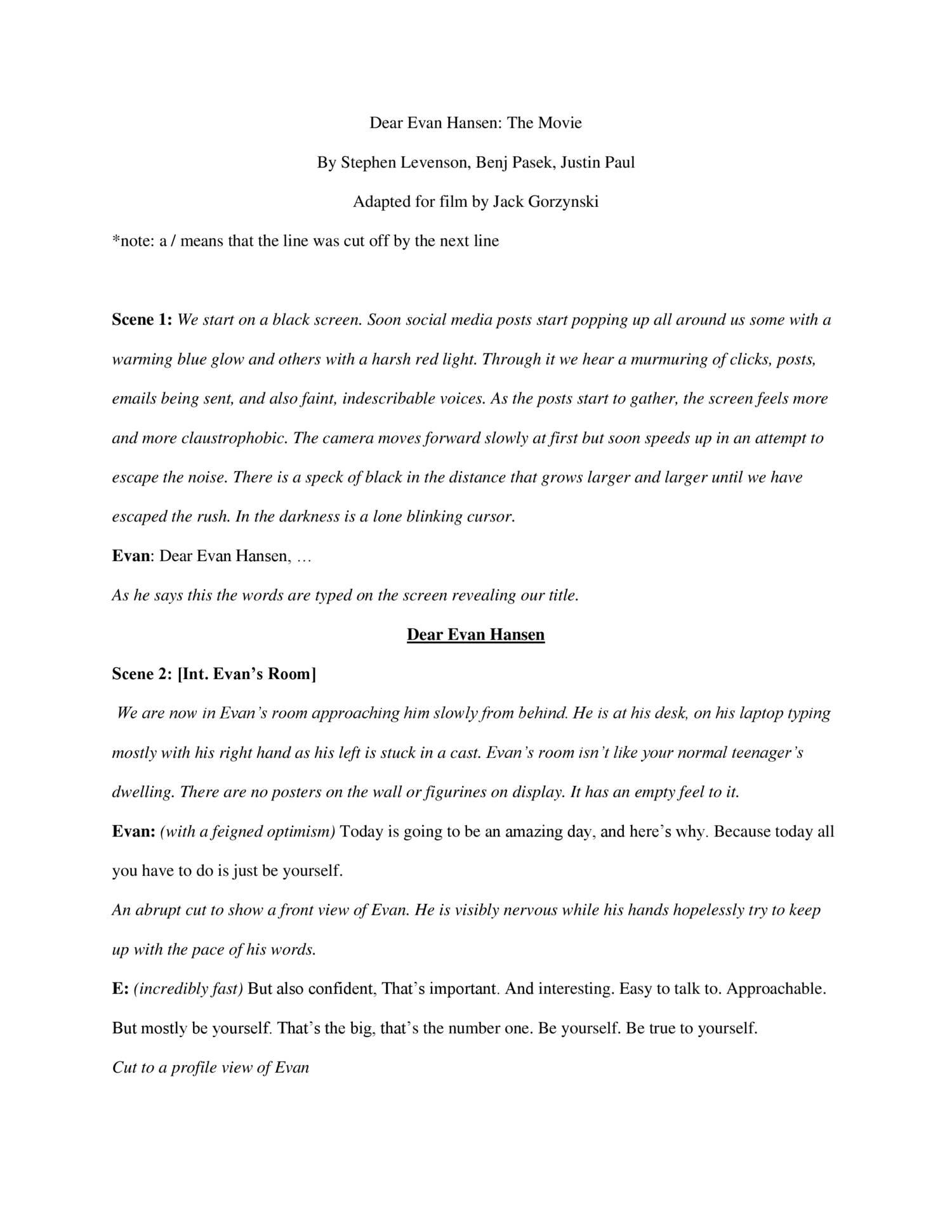 Dear Evan Hansen Movie Script docx | DocDroid
