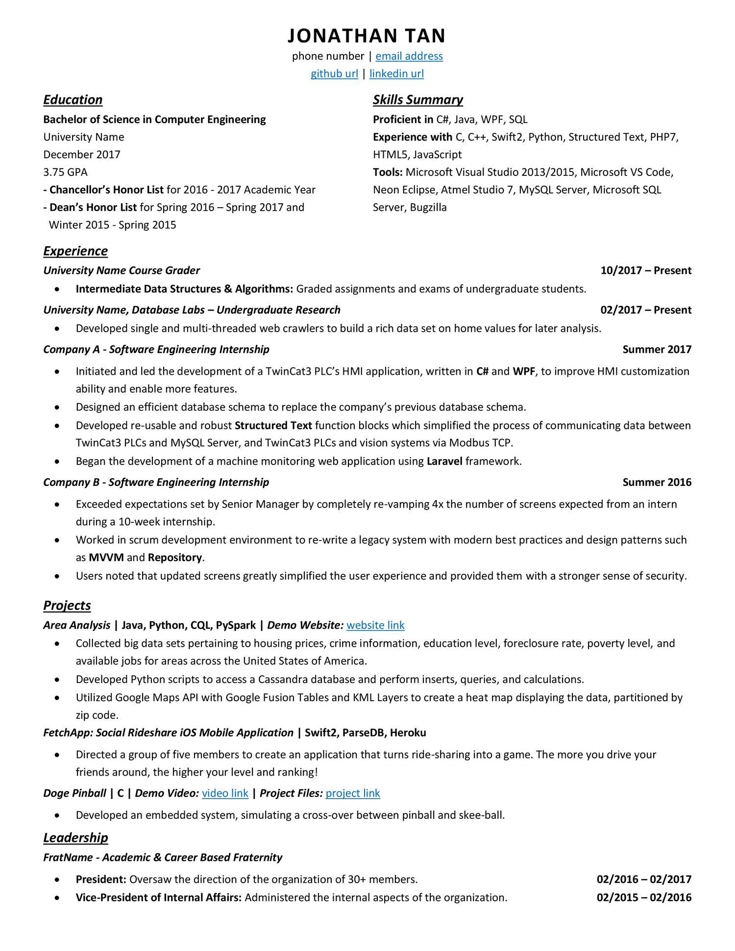 Senior Software Engineer Resume Reddit