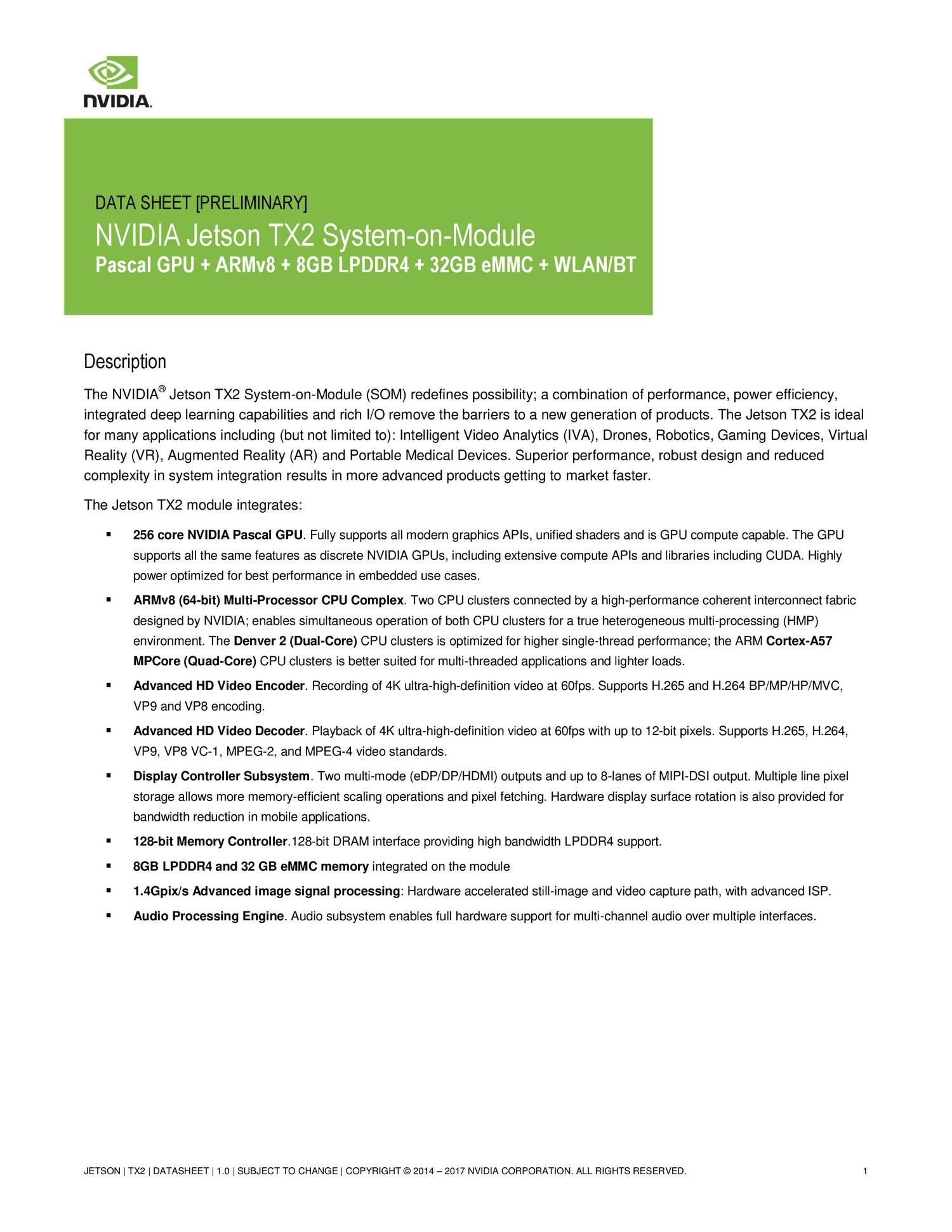 DATA SHEET - NVIDIA Jetson TX2 System-on-Module pdf | DocDroid