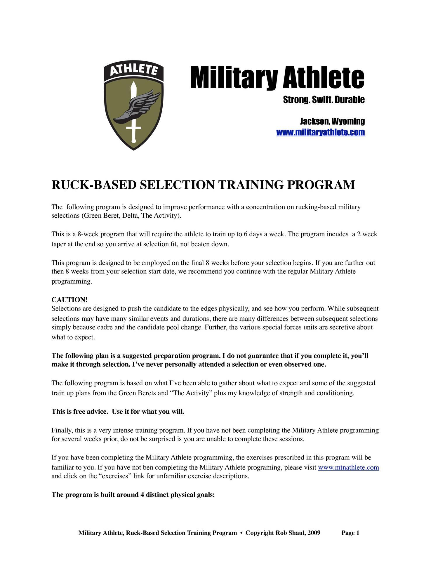 military athlete ruck based selection program pdf