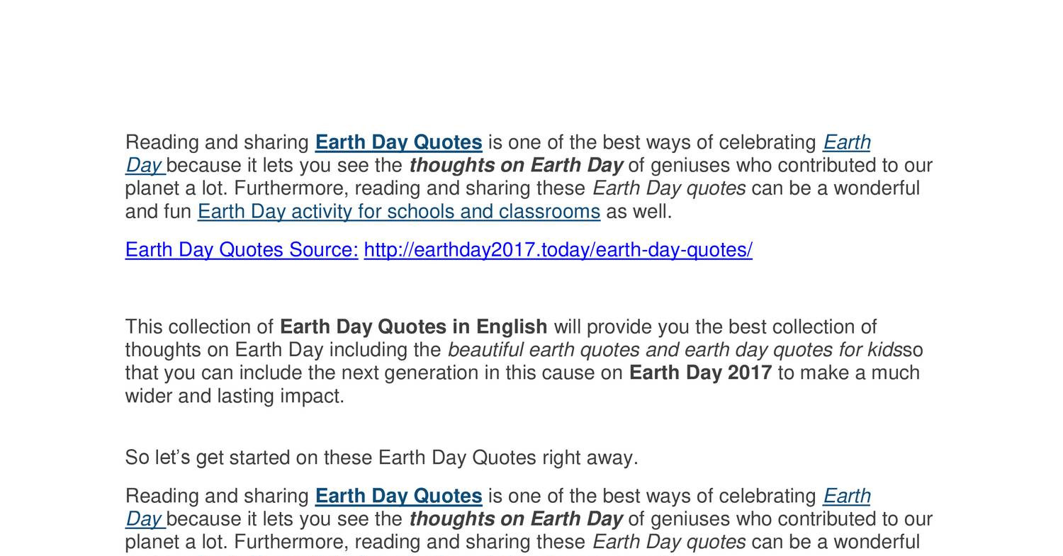 Earth Day Quotes 2017pdf Docdroid