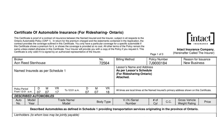 Ontario Certificate Of Insurancepdf Docdroid