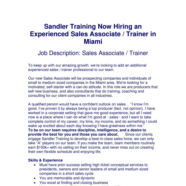 job description for sales associate
