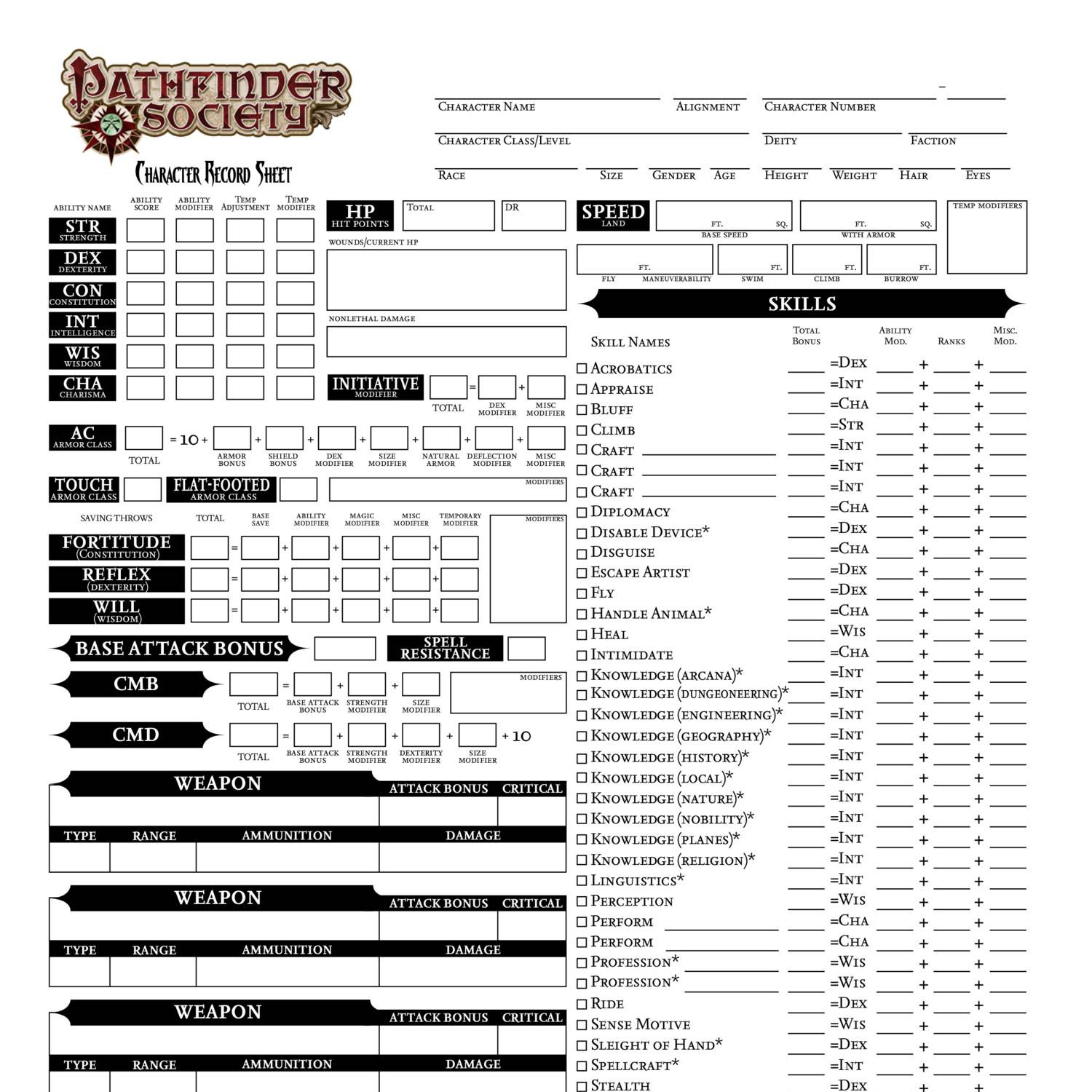 picture relating to Pathfinder Printable Character Sheet identify Individuality Sheet.pdf DocDroid