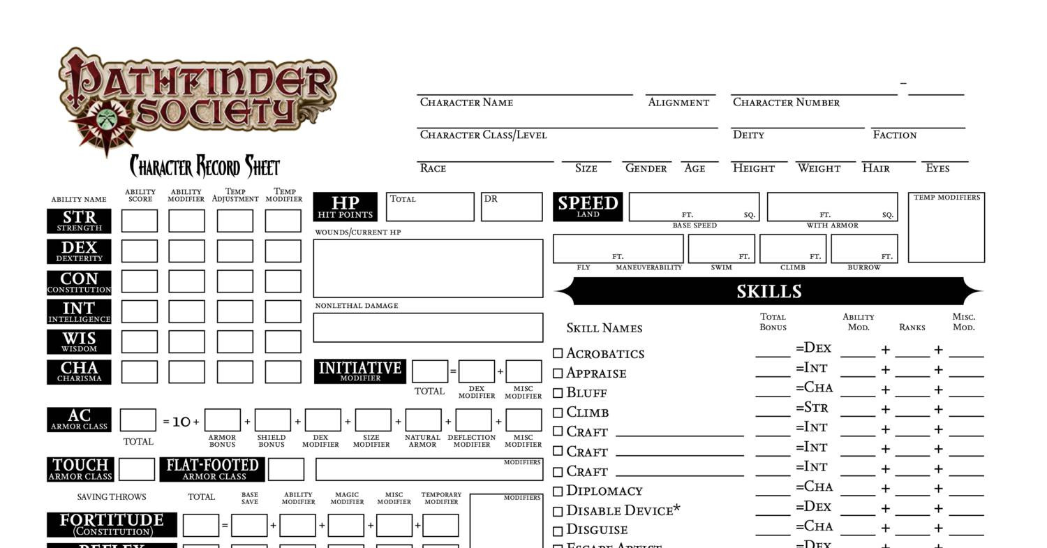It's just a photo of Insane Printable Pathfinder Character Sheet