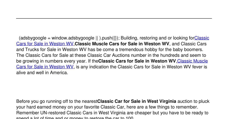 Dorable Old Cars For Sale In Wv Motif - Classic Cars Ideas - boiq.info