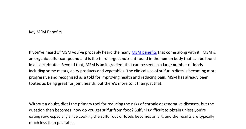 02  MSM Benefits docx | DocDroid