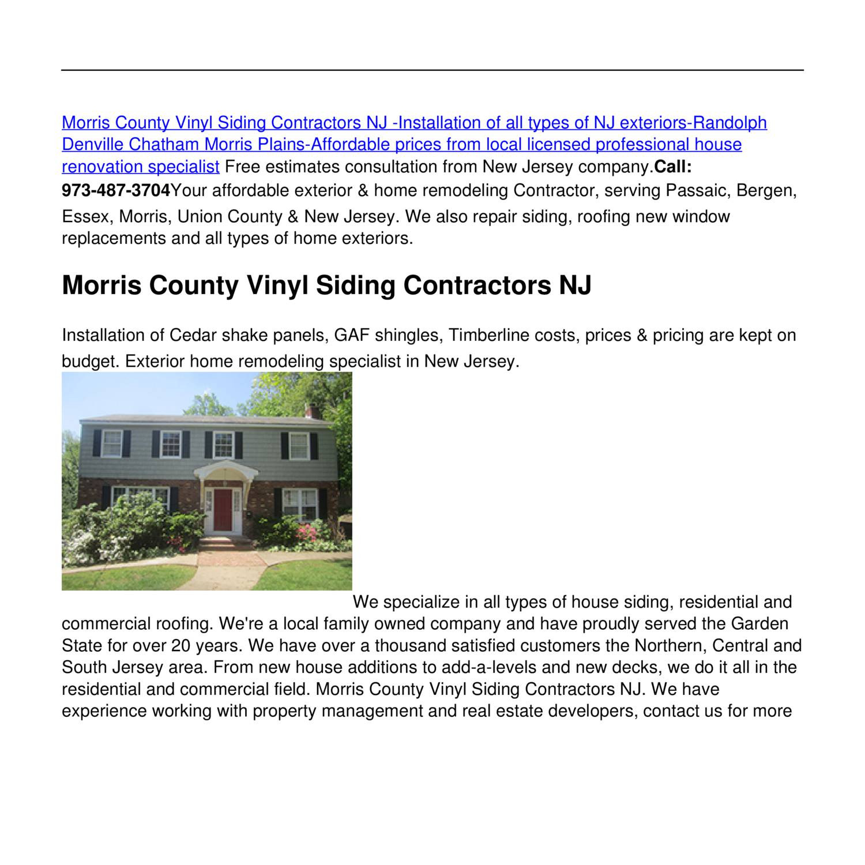 Morris County Vinyl Siding Contractors Nj Pdf Docdroid