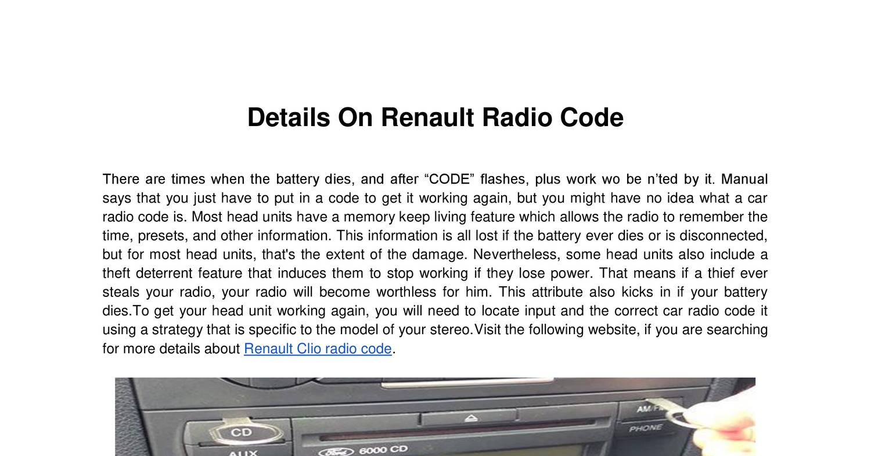 Details On Renault Radio Code doc   DocDroid