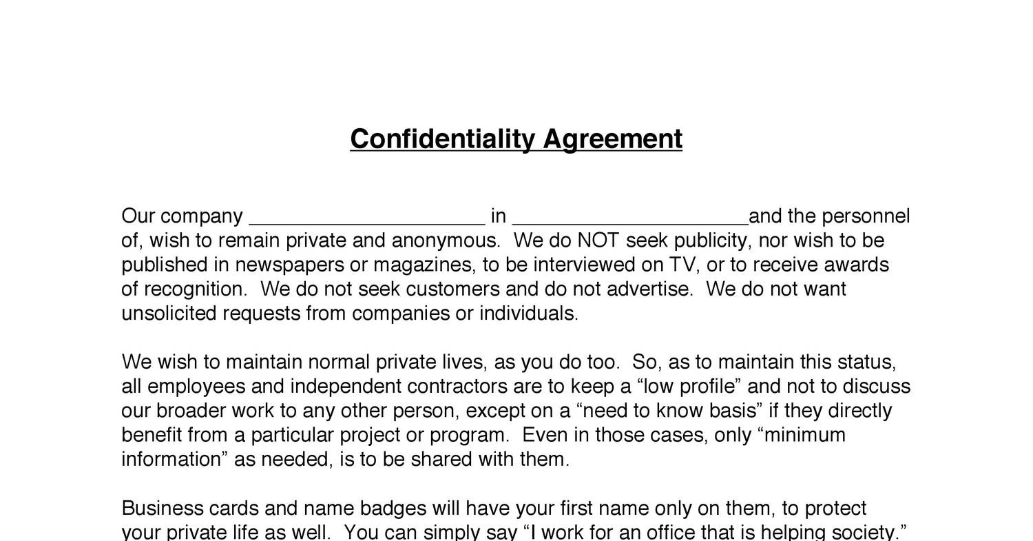 Contractor Confidentiality Agreement Template Costumepartyrun