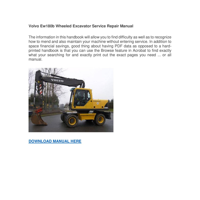 Volvo Ew180b Wheeled Excavator Service Repair Manual pdf   DocDroid
