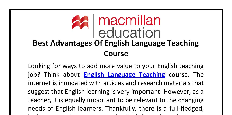 Best Advantages Of English Language Teaching Course.pdf | DocDroid