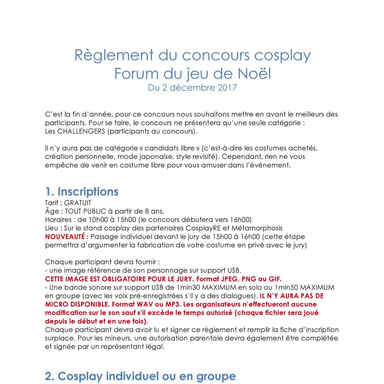 Reglement Du Concours Cosplay Forum Du Jeu De Noel Pdf Docdroid