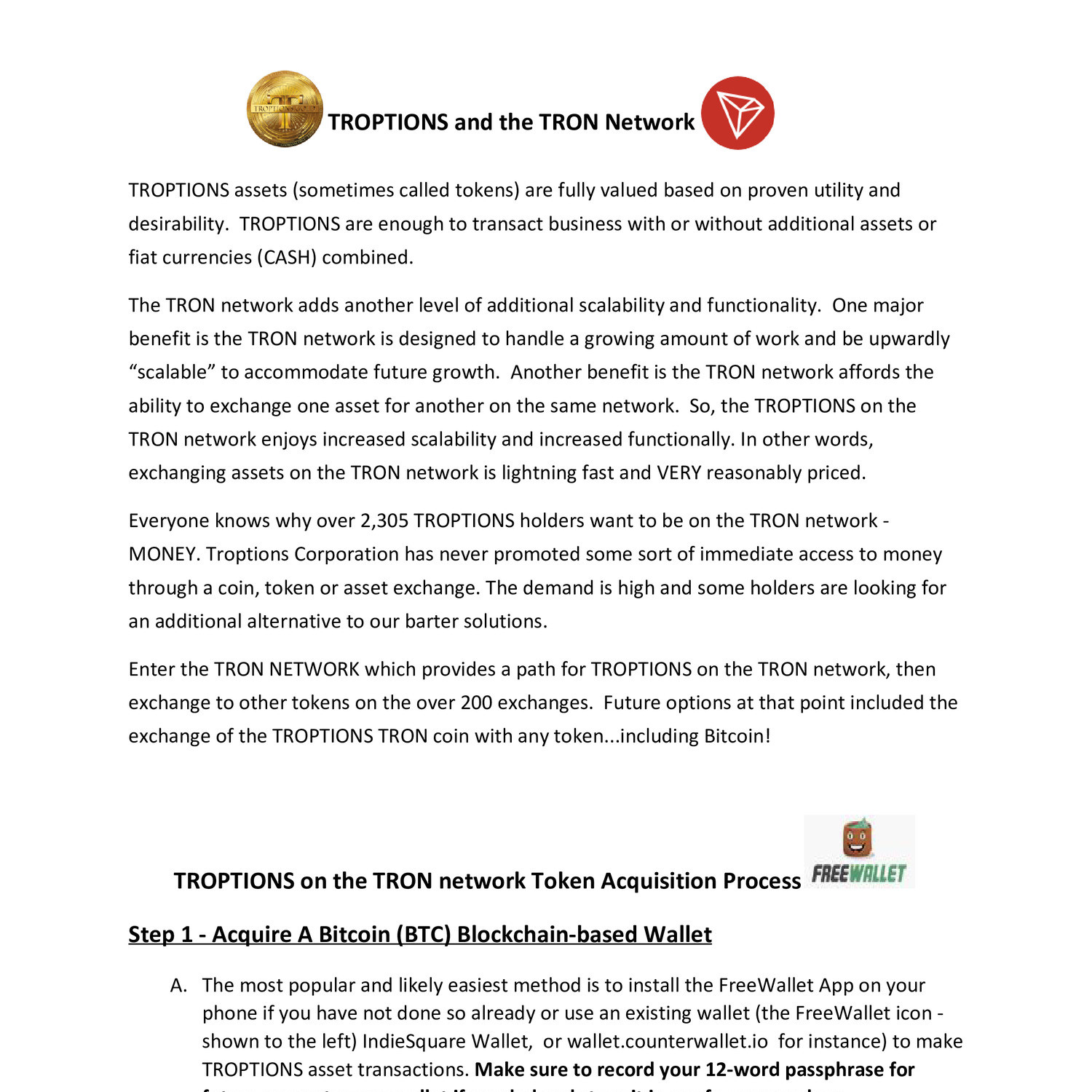 TROPTIONS and the TRON Network pdf | DocDroid