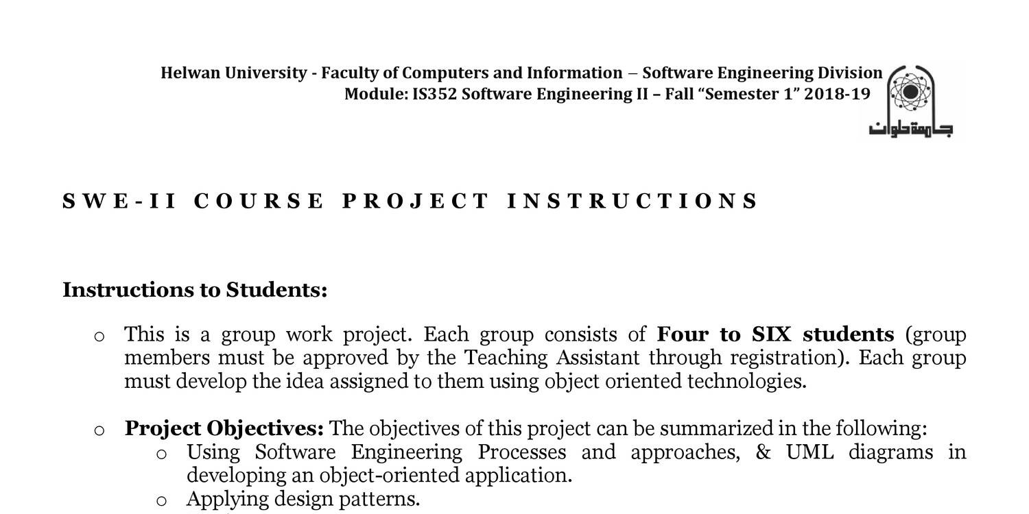Is352 Software Engineering Ii Projects Description Fall 2018 Pdf Docdroid