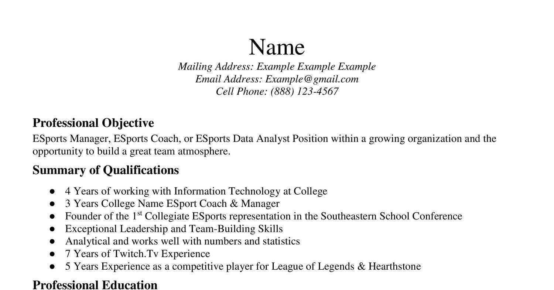 esport resume reddit help docx