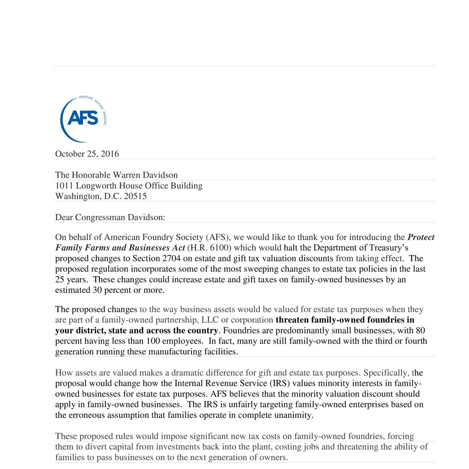 Afs thank you letter to rep davidson on hr6100cx docdroid aljukfo Images