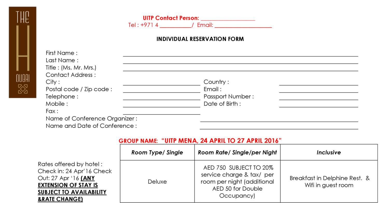 UITP MENA Individual Reservation Form- April 24 to April 27, 2016