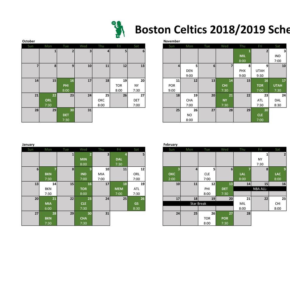picture relating to Celtics Printable Schedule known as Celtics Printable Calendar 2018.pdf DocDroid