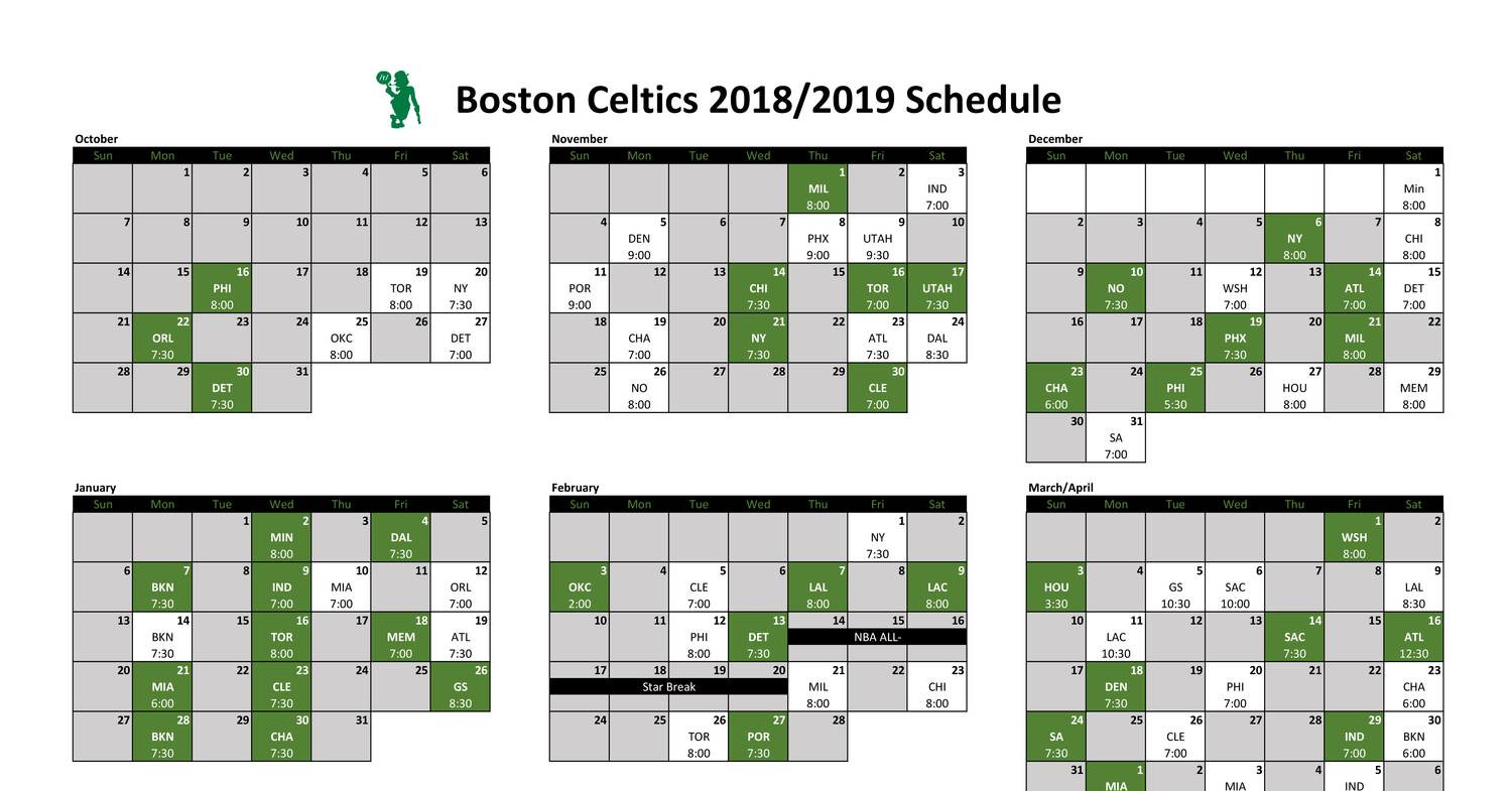 picture regarding Celtics Printable Schedule known as Celtics Printable Calendar 2018.pdf DocDroid