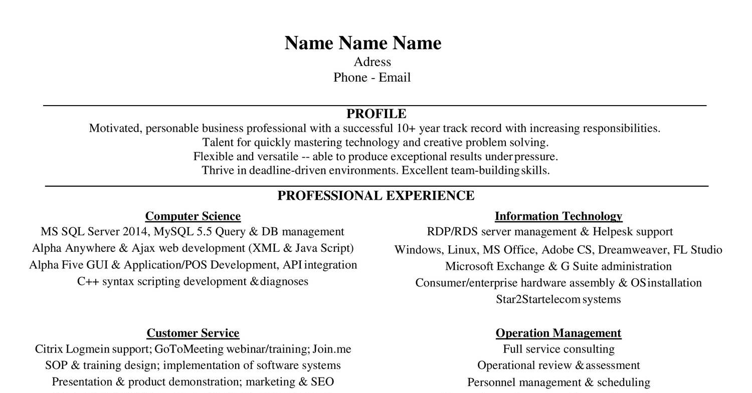 19 resume doc template 9 job application letters for - Technology Resume Template