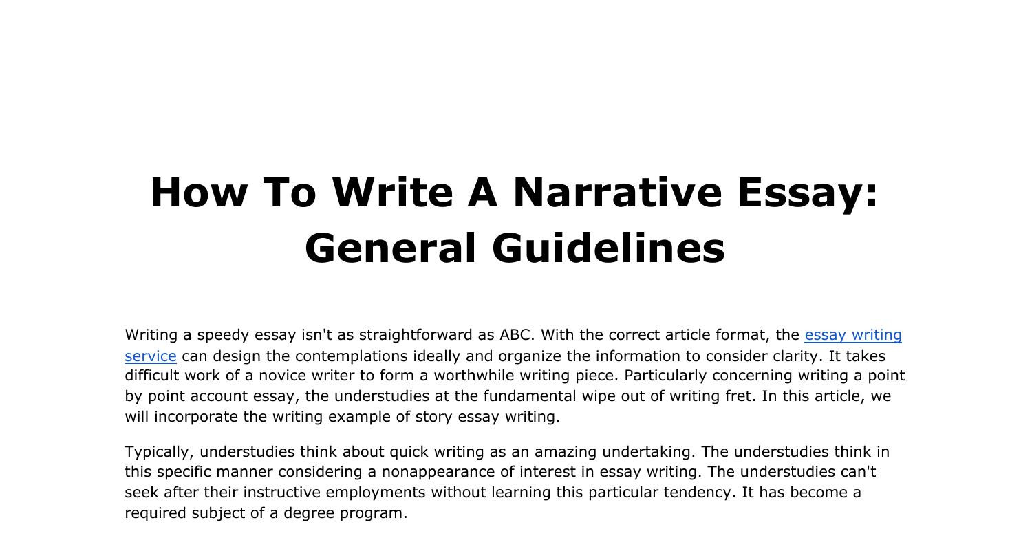 how to write a narrative essay general guidelinespdf