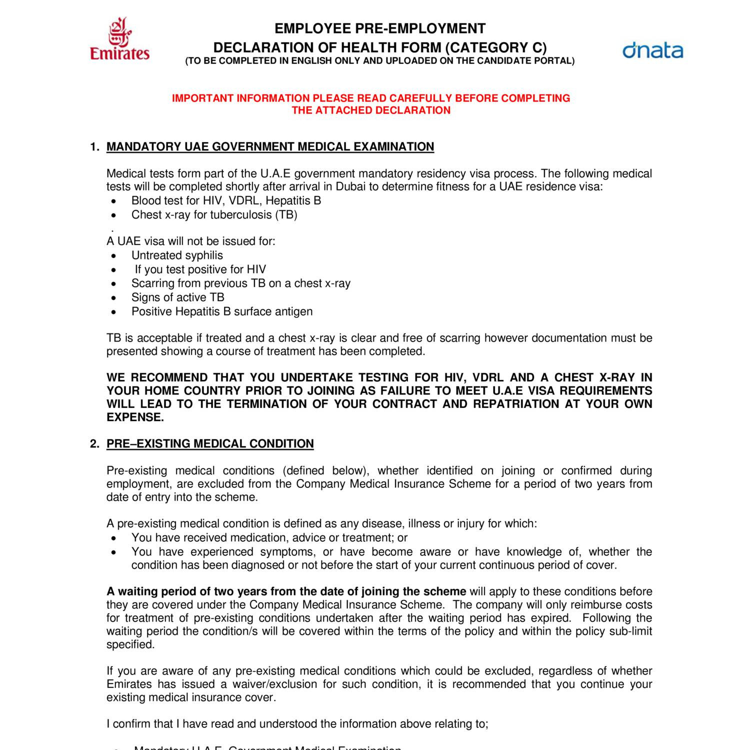 Pre-employment Medical Examination Form for Cabin Crew only.pdf ...