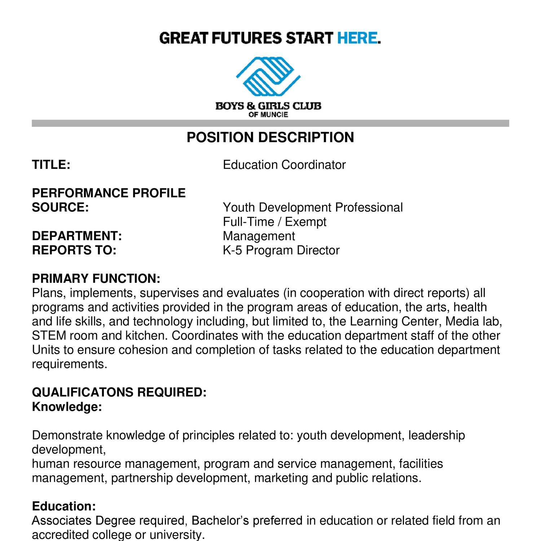 Education Coordinator Position Description Eliolera Com