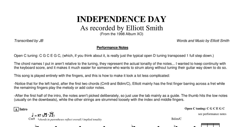 Elliottsmith Independencedayguitarpdf Docdroid
