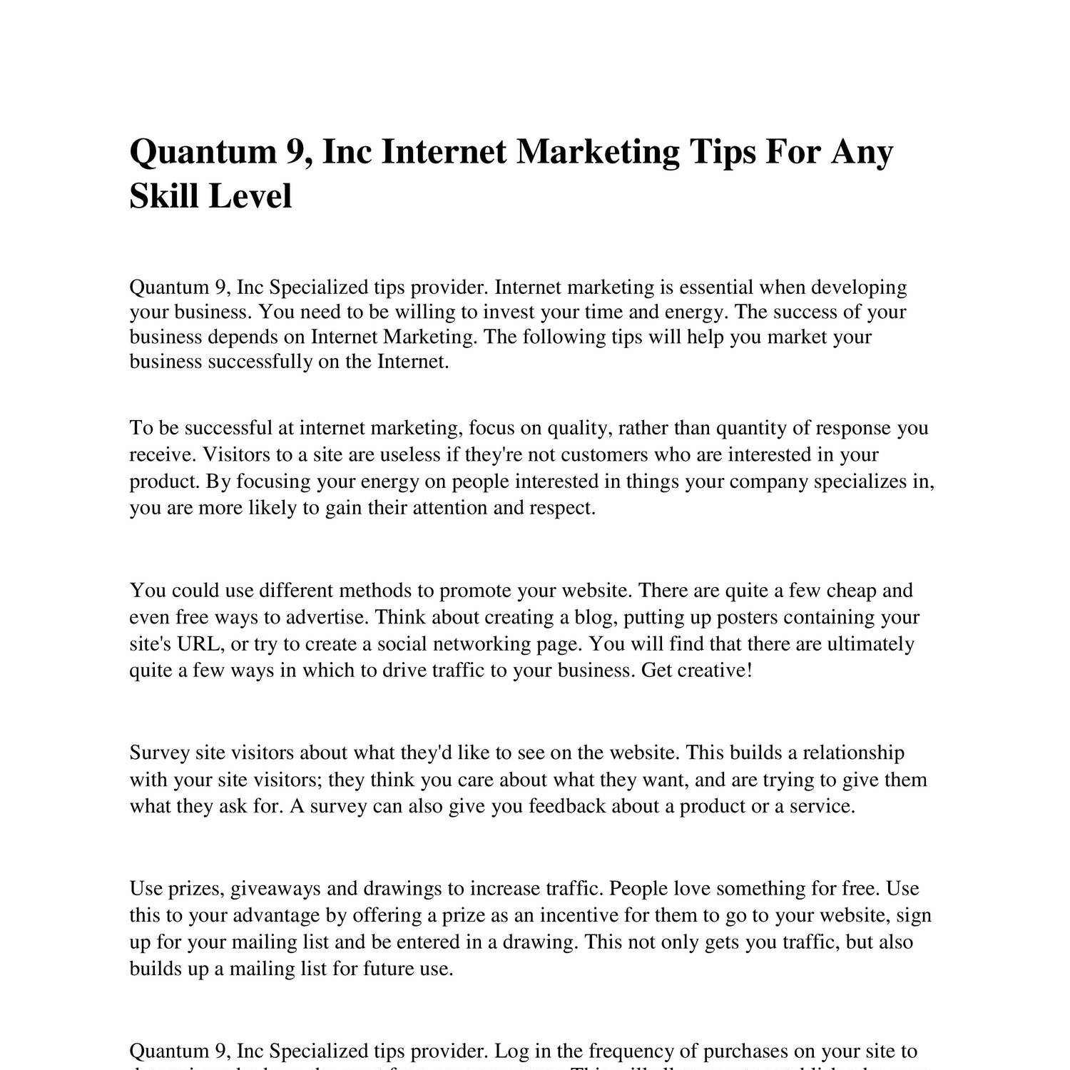 Quantum 9 Inc Internet Marketing Tips For Any Skill Level