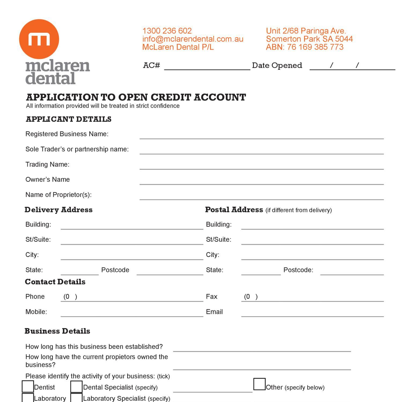Modern Credit Application Form Embellishment Simple