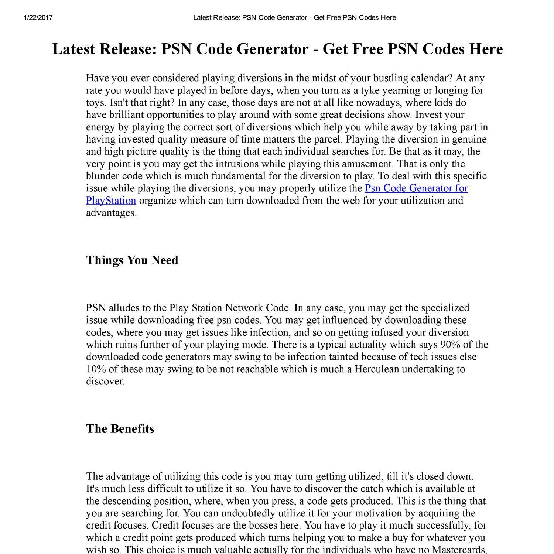 Latest Release_ PSN Code Generator - Get Free PSN Codes Here pdf