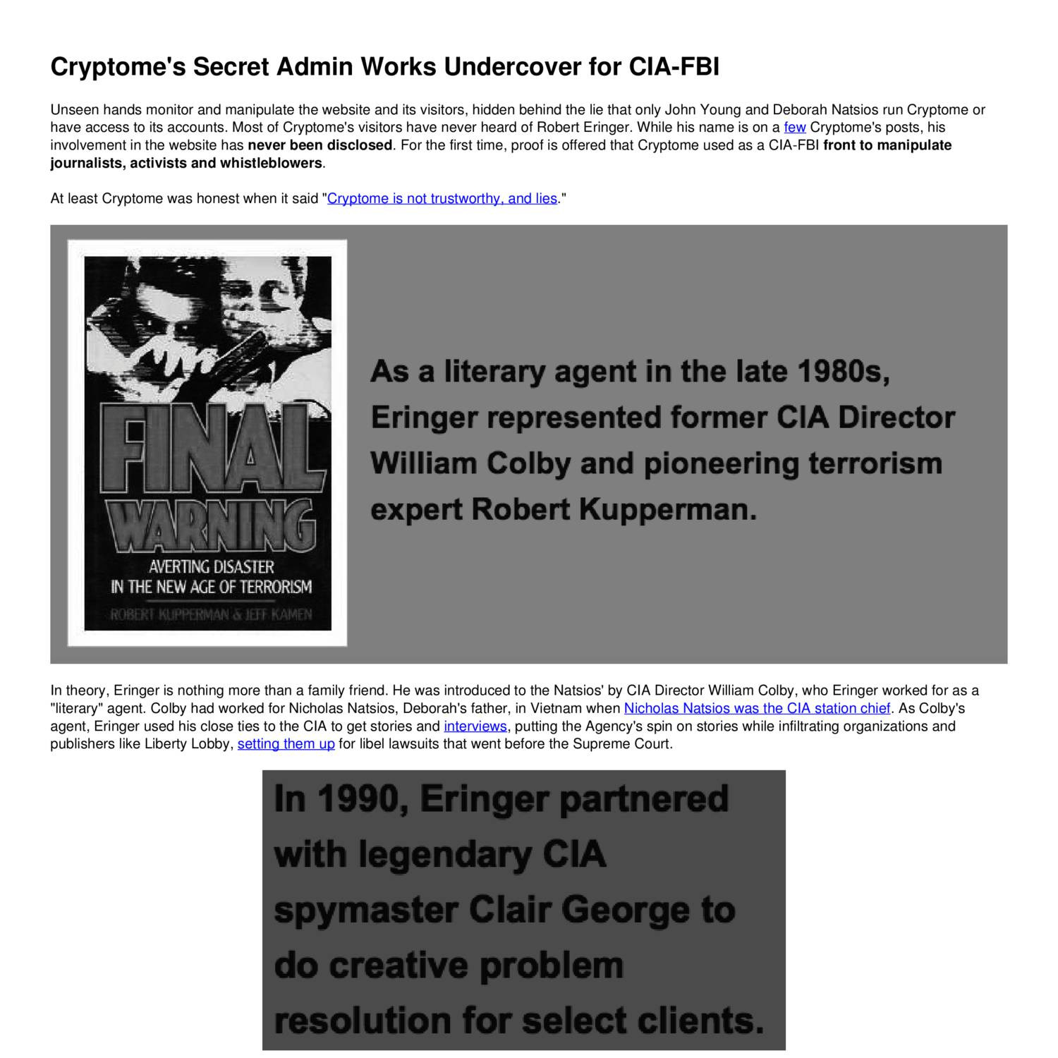 Cryptome's Secret Admin Works Undercover for CIA-FBI pdf | DocDroid