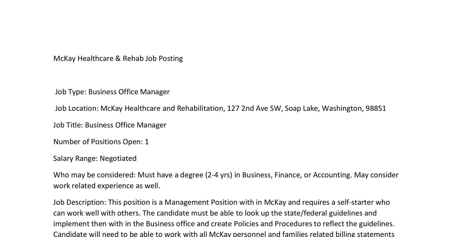 Business Office Manager 2016 Docx Docdroid